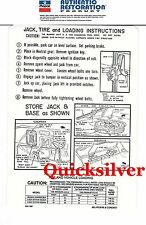 1966 Plymouth Belvedere Satellite Jacking Instructions Decal EARLY Production