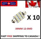 10 X Festoon Xenon WHITE 39mm LED Dome Light Bulb 12 SMD LED chips Interior 3528