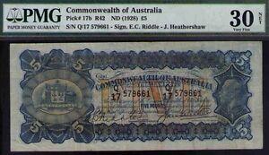 Commonwealth of Australia ND1928 £5 KEVIII PMG Certified VF30 R42 Pick# 17b RAR