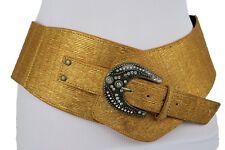 Women Gold Faux Leather Western Wide Rodeo Belt Antique Metal Buckle Studs S M