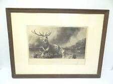 Antique Old Thomas Landseer The Stag at Bay Print of an Etching Hanging Wall Art