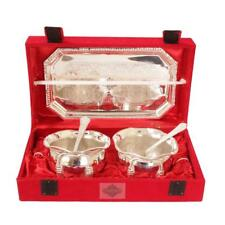 Indian Art Villa Silver Plated Bowl Set With Embossed Tray And 2 Spoon (300 ML)