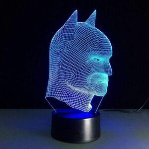 Batman Head Modern 3D LED Night Light 7 Color Change USB Lamp NIB