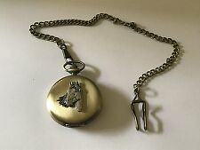 A1 Horse Head Made of English Pewter on a Antique Brass Pocket Watch Quartz fob