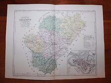 1850 Carte Géographique Atlas époque couleur Département 16 Charente Angoulême