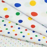 Polka Dots Spots Dotty Multi Coloured Craft Dress Polycotton Fabric