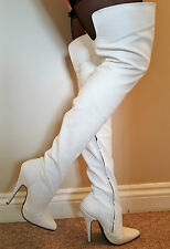 Sexy White Matt Leather Extra Length Thigh Length Boots inside zip UK 9 EU 42