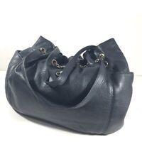 Michael Kors Jet Set Pebbled Leather Handbag Purse Shoulder Bag Black Gold Chain