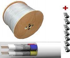 100f-stecker] 100m QUATTRO Câble d'antenne 4 compartiments Quad coaxial 4 En 1
