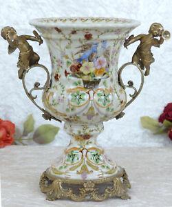 Porzellan Vase Engel Bronze Tischvase Jugendstil Amphore Engel Antik Barock Neu
