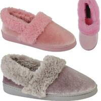 Ladies Slip On Soft Warm Fur Lined Collar Indoor Winter Womens Slippers Mules UK