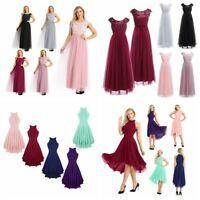 Women Bridesmaid High LOw Long Dress Cocktail Wedding Evening Party Formal Gowns