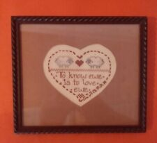 """Framed Matted Cross Stitch Sampler """"To Know Ewe is to Love Ewe"""" with Two Sheep"""
