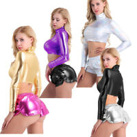 Womens Metallic Wet Look  Long Sleeve Crop TopTurtleneck Top Shirt Clubwear Rave