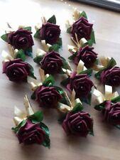 Wedding rose (burgundy) buttonholes x 12 diamante or pearls gold ribbon bow