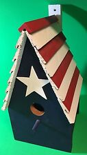 New listing New, Painted Wood Bird House, Red-White-Blue America Custom Crafted
