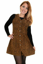 Ladies Run & Fly 80s 90s Retro Tan Tobacco Paisley Corduroy Shirt Dress
