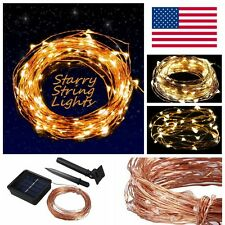 Solar powered Warm White 10M/33FT 100LED Copper Wire LED String Fairy Light lamp