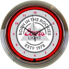 "Coors Light Neon Clock Sign 15"" Born in the Rockies Neonetics 8MCOOR MAN CAVE"