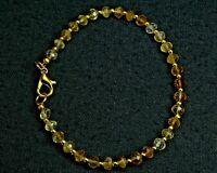 """N-3513 Citrine Gemstone Natural Rondelle Faceted Shaded 21ct 4-5mm 7"""" Bracelet"""