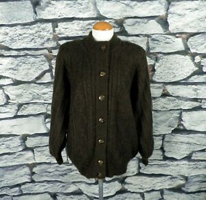 1980s Dark Brown Cable Knit Wool Mix Cardigan Jacket by Designers Label Size L