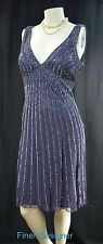 Patra Sequin Beaded Silk Evening Dress knee Gown Cocktail party sleeveless 12 14