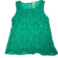 Adiva Womens Large Sleeveless Blouse Tank Top Green Crochet Lace Overlay