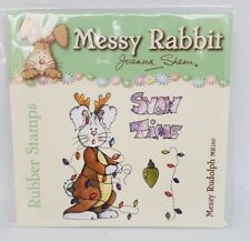 """Joanna Sheen Messy Rabbit Rubber Stamp 4""""x4"""" - CHRISTMAS - Messy Rudolph"""