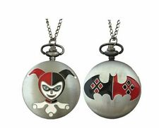 """Harley Quinn Pocket Watch Necklace On 30"""" Chain FABULOUS!"""