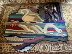 """6/100 Limited Edition Earthsongs Series """"Swans"""" Wall Hang Tapestry Helen Webber"""