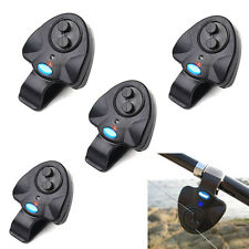 4PCS Electronic Fish Bite Sound Alarm LED Indicator Bell Alert Clip On Rod Black