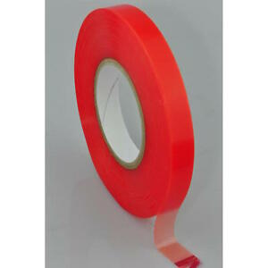 Transparent Double Sided Polyester Tape With Red Mopp Liner All Sizes 50 Metre