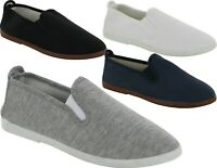 MEN FLAT CANVAS SLIP ON CAUSAL SUMMER PLIMSOLLS BOYS COMFY SHOES PUMP TRAINERS