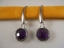 Sterling Silver, Faceted Round Amethyst Earrings