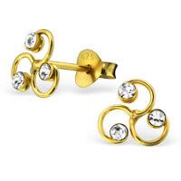 Sterling Silver 925 Gold Triskele Crystal Stud Earrings