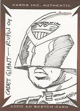 """30 Years of 2000AD: Judge Dredd - Rufus Dayglo """"Cadet Giant"""" Sketch Card"""
