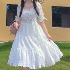 Women Girl Lolita White Pink Ruffle Lace Up Retro Puff Sleeve Dress