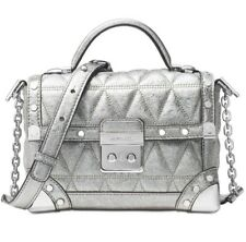 New Michael Kors Cori Small Trunk bag Pyramid quilted metallic crackle leather