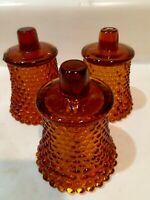 Set of 3  Dark Amber Hobnail Votive Cups, Candle Holders, Sconces