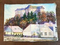 Vintage Original Plein Air Painting on Linen by Ukrainian Artist Signed 8.5 X 12