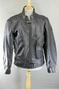TRIUMPH BLACK LEATHER BIKER JACKET WITH REMOVABLE SHOULDER & ELBOW ARMOUR 42INCH