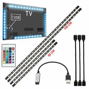 Pre-Cut 4Pcs TV LED Backlight USB 5050 RGB LED Strip Light Remote Kit 5V 30Led/M