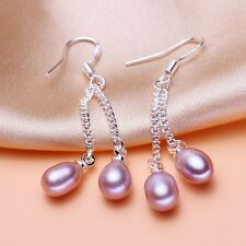 Genuine Real Silver Natural  Ear Stud Freshwater Pearl Dangle Earrings