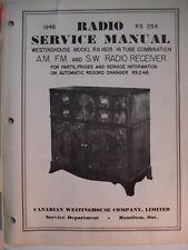 Service Manual Original Vintage Westinghouse Radio Model RA-1605  Canada