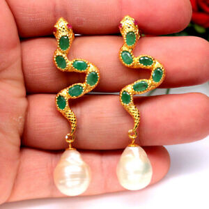 NATURAL GREEN EMERALD RUBY & BAROQUE PEARL SNAKE EARRINGS 925 SILVER STERLING