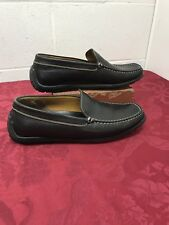 1a025291cb0cb GEOX Respira Mens 42 1/2 Slip on Moc Toe Driving Loafers Shoes Black Leather