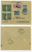 T5103 / LIBERIA / REG. COVER TO SWEDEN 1919 W. MANY STAMPS, SCARCE.