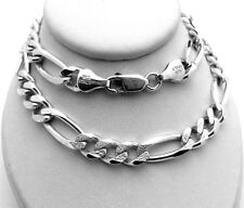"""Solid 925 Sterling Silver Figaro Chain Necklace 33.5 grams 22"""" long"""