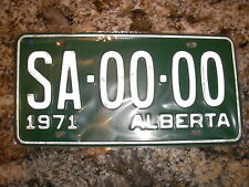 1971 ALBERTA SAMPLE LICENSE PLATE SA 00 00