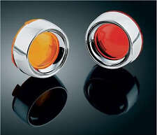 Honda VTX1800 & VTX1300 C (x4)  Red+Amber Turn Signal Lenses w/Deep Dish Bezels